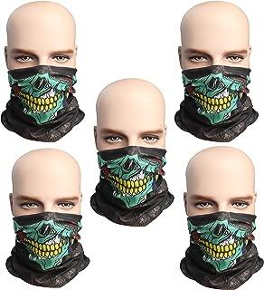 Pack of 5 Outdoor Sport Seamless Magic Scarf Motorcycle Skull Mask Sun Balaclava Black Ski Masks