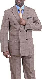 Classic Fit Tan with Brown Windowpane Double Breasted Suit