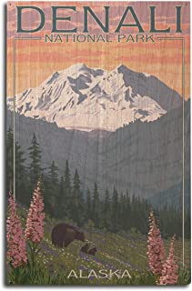 Lantern Press Denali National Park, Alaska - Bear and Cubs with Flowers (10x15 Wood Wall Sign, Wall Decor Ready to Hang)