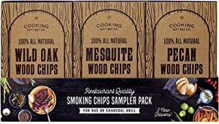 Cooking Gift Set   Wood Chips for Smokers Variety Pack (3 PC) - 100% All Natural Pecan, Wild Oak, Mesquite for Grilling and Smoking Meat with Delicious Smoke Flavor