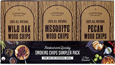 Cooking Gift Set | Wood Chips for Smokers Variety Pack (3 PC) - 100% All Natural Pecan, Wild Oak, Mesquite for Grilling and Smoking Meat with Delicious Smoke Flavor