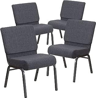 Flash Furniture 4 Pk. HERCULES Series 21''W Church Chair in Dark Gray Fabric - Silver Vein Frame