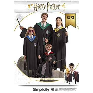 Simplicity 8723 Harry Potter Cosplay and Halloween Costume Sewing Pattern, Kids Teens and Adult Sizes XS-XL