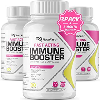 Immune Booster Vitamin C Zinc Immune Support Fast Acting Antioxidant with Vitamin D, B6, B12, E Supplement Capsules Faster...