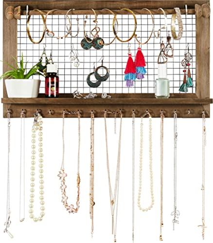 Rustic Jewelry Organizer with Bracelet Rod Wall Mounted - Wooden Wall Mount Holder for Earrings, Necklaces, Bracelets...