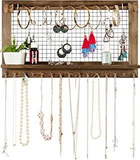 SoCal Buttercup Rustic Jewelry Organizer with Bracelet Rod Wall Mounted - Wooden Wall Mount Holder for Earrings, Necklaces, Bracelets, and Many Other Accessories