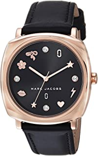 Marc Jacobs Women's 'Mandy' Quartz Stainless Steel and Leather Casual Watch, (Mj1565), Black Band, Analog Display