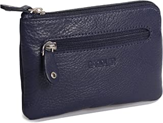 SADDLER Womens Luxurious Leather Zip Top Coin Purse | Ladies Money Pouch - Perfect Size for Multiple Credit Cards Coins Notes Double Keychain | Gift Boxed - Navy