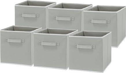 6 Pack - SimpleHouseware Foldable Cube Storage Bin, Grey