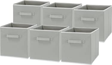 6 Pack - SimpleHouseware Foldable Cube Storage Bin Grey