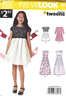 New Look Patterns Girls' Dress in Two Lengths Size: A (8-10-12-14-16), 6427