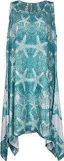 فستان حريمي مغطى بحاشية على شكل عضة القرش من India Boutique مع تصميم صدفة وأحجار كريمة ، مقاس واحد
