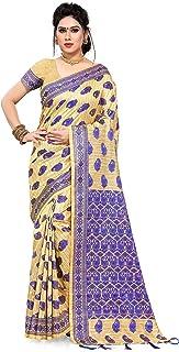S Kiran's Women's Khadi Art Silk Saree With Unstitched Blouse (WSareeDn1ChikuRblue_Beige)