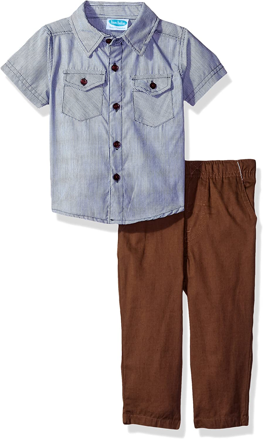 Bon Bebe Baby Boys' 2 Piece Shortsleeve Collared Button Front Shirt with Woven Pant