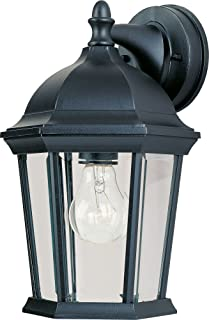 Maxim 1024BK Builder Cast 1-Light Outdoor Wall Lantern, Black Finish, Clear Glass, MB Incandescent Incandescent Bulb , 100W Max., Dry Safety Rating, 2700K Color Temp, Standard Dimmable, Glass Shade Material, 5750 Rated Lumens
