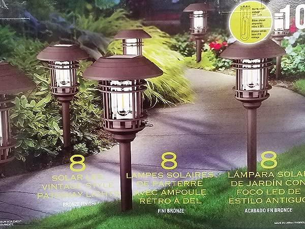 Naturally BIG Solar 8 Pc Solar LED Vintage Style Pathway Lights W Bronze Finish