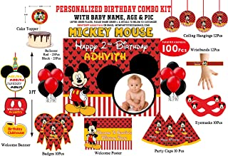 WoW Party Studio Personalized Mickey Mouse Theme Birthday Party Supplies with Birthday Boy/Girl Name - Combo Kit #1