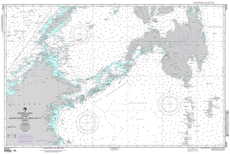 NGA Chart 92006 Philippine IslandsSouthern Part 53  x 35.5  Matte Plastic Map