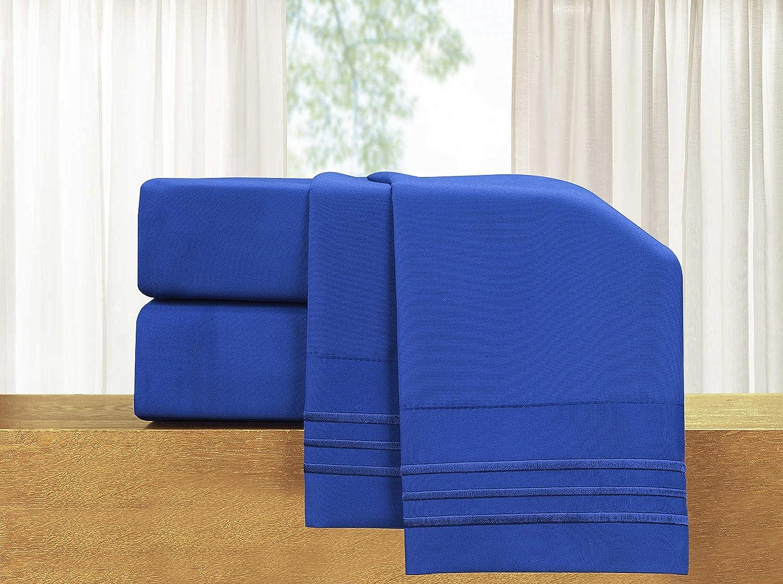 Elegant Luxury 4 Piece Blue Bed Sheet Set