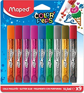 Maped Color'Peps Tubes de colle Pailletées pour enfant Effet Brillant, Facile à utiliser avec Embout Fin - 9 Tubes de 10.5...