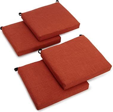 Blazing Needles Indoor/Outdoor Spun Poly 20-Inch by 20-Inch by 3-Inch All Weather UV Resistant Zippered Cushions, Cinnamon, S