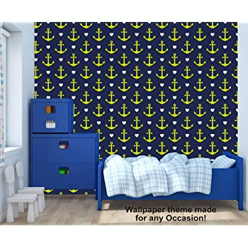 Amazon Com Anchor And Timon Nautical Pennant Theme Wallpaper Mural For Interior Design Peel And Stick Wallpaper Decor You Walls For Any Occasion R474 24 X 36 Home Kitchen