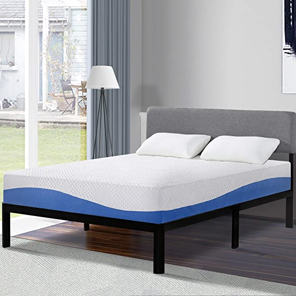 Olee Sleep 10 Inch Gel Infused Layer Top Memory Foam Mattress Blue Twin