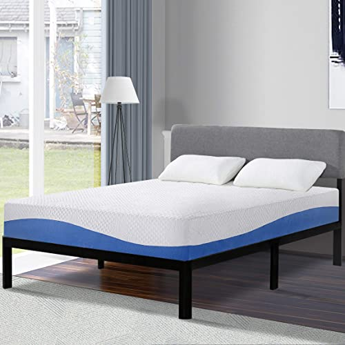 Olee Sleep 10 Inch Gel Infused Layer Top Memory Foam Mattress Blue, King