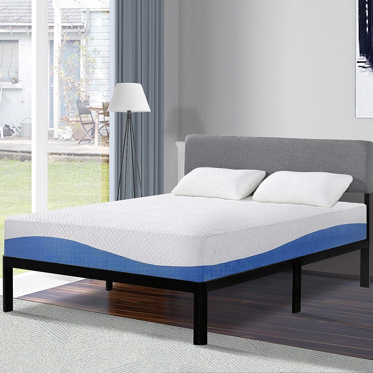 Olee Sleep 10 Inch Gel Infused Layer Top Memory Foam Mattress Blue, Full