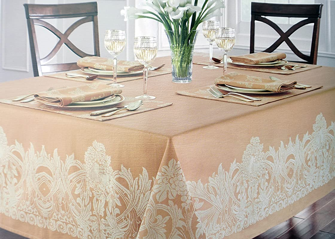 Waterford Linens Fabric Beige Tablecloth With Jacquard Tan Floral Pattern Around Edge Chaparrel Wheat 70 Inches By 126 Inches
