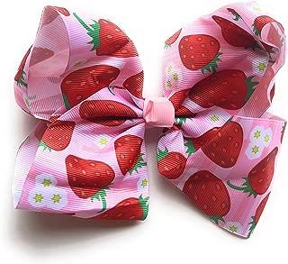 Girls 8 inch Grosgrain Fun Fruit Summer Hair Bow (Strawberry)