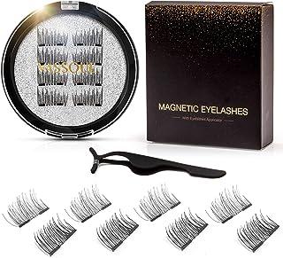 Vassoul Dual Magnetic Eyelashes, Natural Half Lash, 0.2mm Ultra Thin Magnet, Light weight Reusable 3D Eyelashes with Appli...