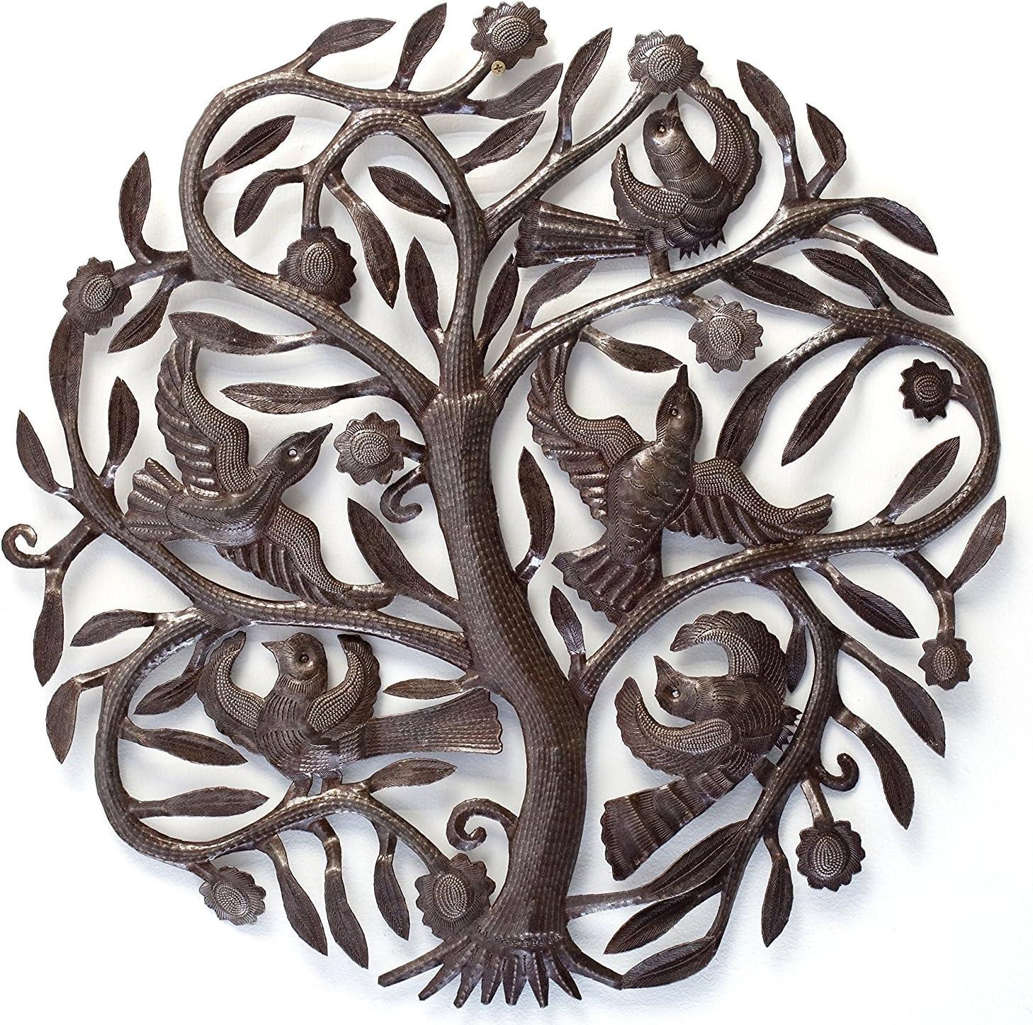 Joyful Tree of Life Wall Art, Decorative Metal Plaque, Tree with