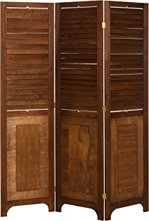 3 Panel Solid Wood Screen Room Divider with Adjustable Shutters on Top Half, Walnut Brown Color by Legacy Decor