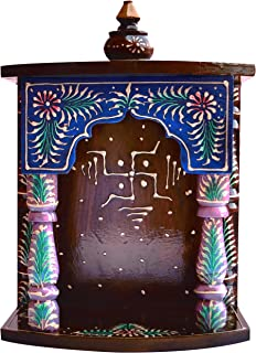 Decorative and Religious temple made with wood and swastic symbol, must for Pooja room at Home and Office, Religious Perfect for Home , Hand made wood Handcrafted temple.