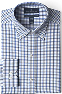 "Buttoned Down Men's Tailored Fit Button-Collar Pattern Non-Iron Dress Shirt, Black/Blue/Grey Check 15.5"" Neck 31"" Sleeve"