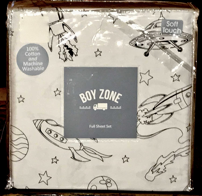 Boy zone UFO SPACE SHIP PLANETS cotton sheet set - FULL SIZE