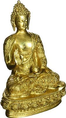Aakrati Handmade Brass Lord Buddha Designer Statue Yellow