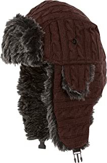 2005393aa96 Sakkas Turner Unisex Ribbed Knit Faux Fur Lined Chin Strap Winter Trooper  Hat