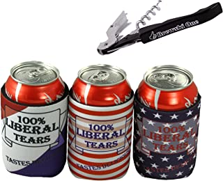 Liberal Tears 355 mL Can Cooler Beer Coolie - Set of Three - Stars, Stripes, Red White and Blue (1)