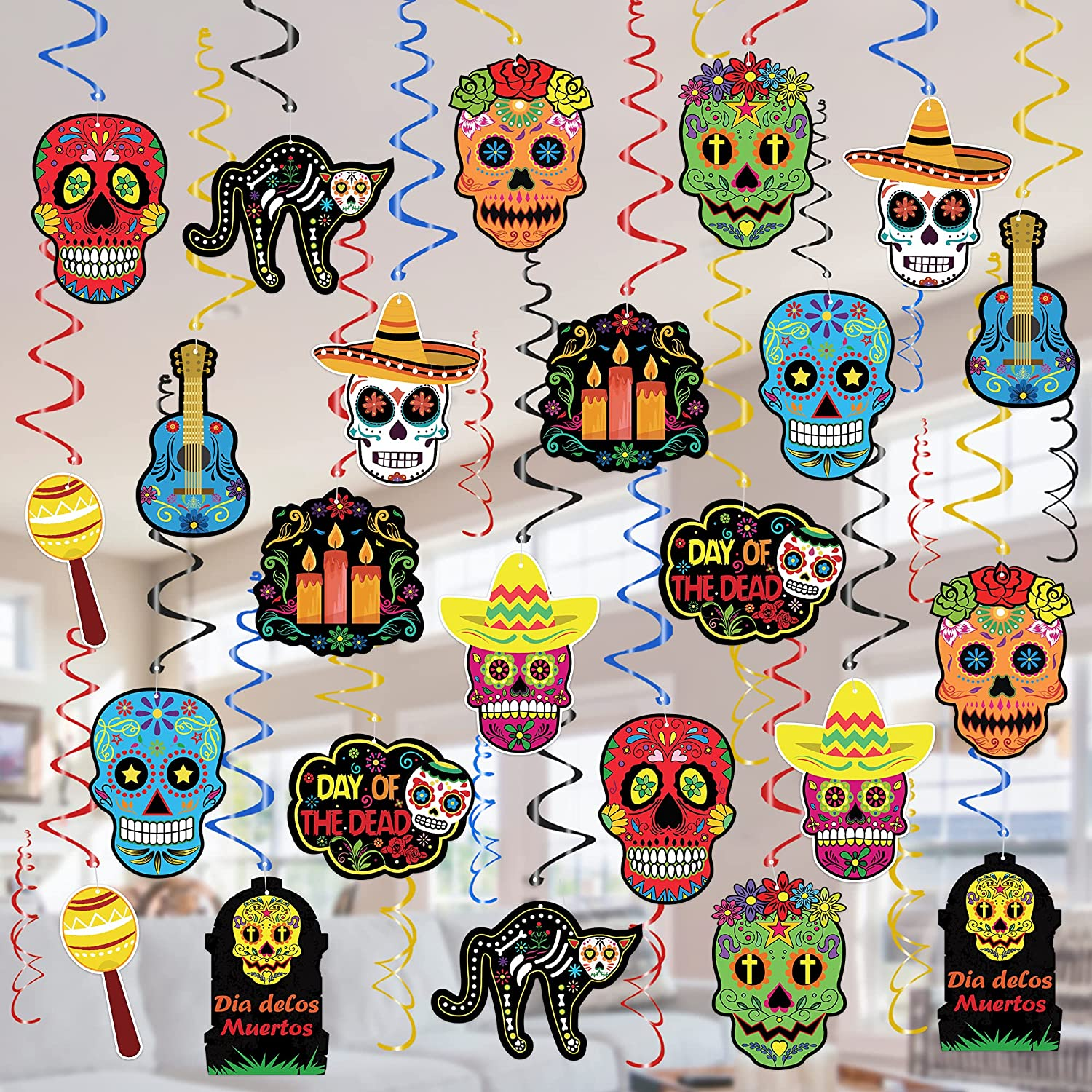 Tifeson Día de Los Muertos Decorations Hanging Swirls - 36 Pcs Mexican Day of The Dead Sugar Skull Ceiling Swirls for Coco Theme Party, Cinco de Mayo, Halloween Sugar Skull Party Decorations Supplies