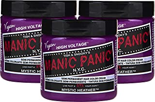 Manic Panic Mystic Heather Hair Color Cream (3-Pack) Classic High Voltage Semi-Permanent Hair Dye - Vivid, Pink Shade - For Dark, Light Hair – Vegan, PPD & Ammonia-Free - Ready-to-Use, No-Mix Coloring