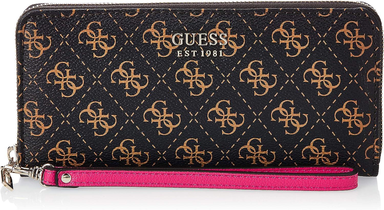 Guess Women's Logo Zip-Around Wallet Clutch Bag - Brown