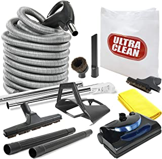 Best Ultra Clean Central Vacuum kit with Powerhead, hose and tools for Beam Electrolux Nutone Hayden fits all brands white head (black, 30ft) Review