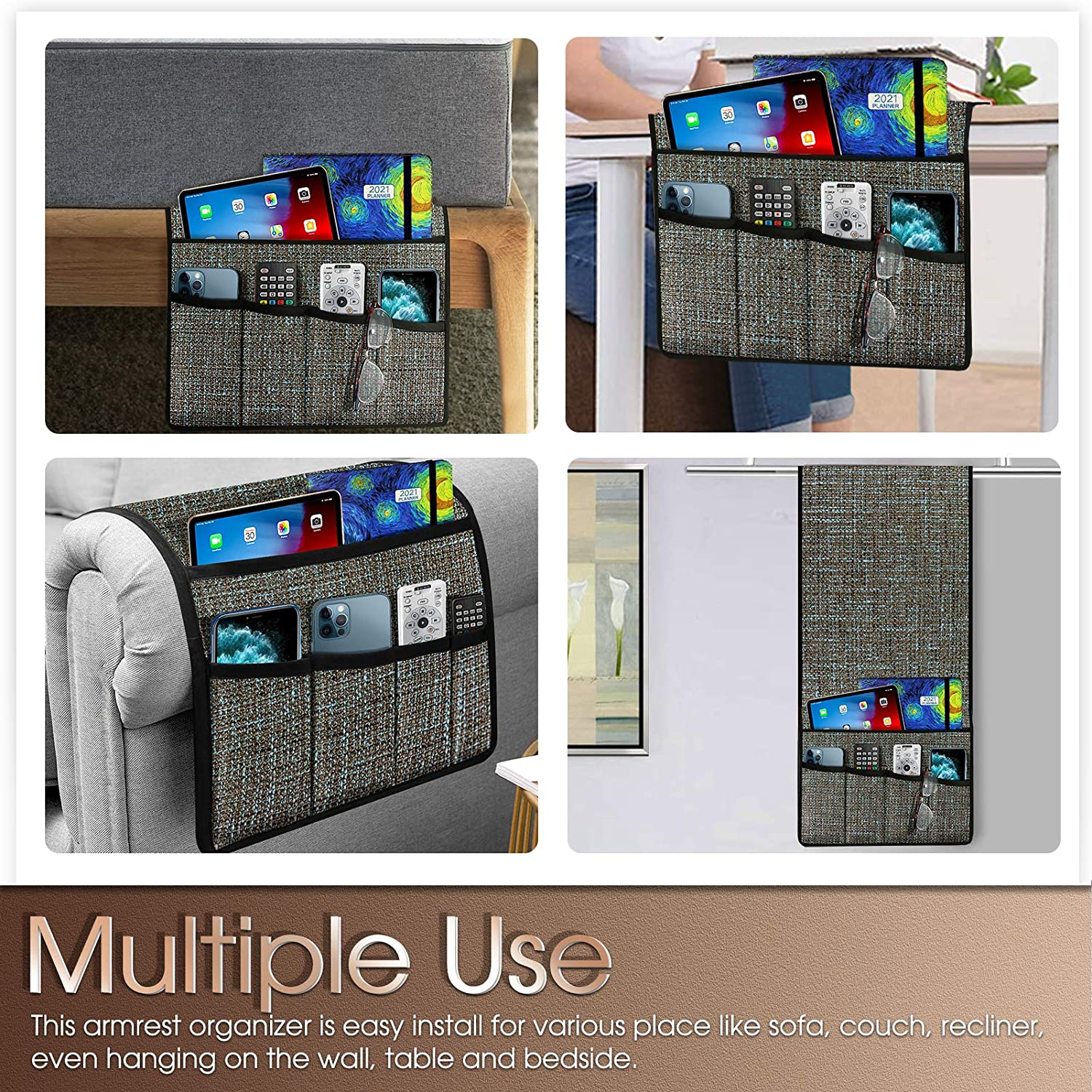 Arm Chair Side with 5 Pockets Armrest Organizer Recliner Accessories Blue Naturoom Thick Linen Armchair Caddy TV Remote Holder for Couch Sofa