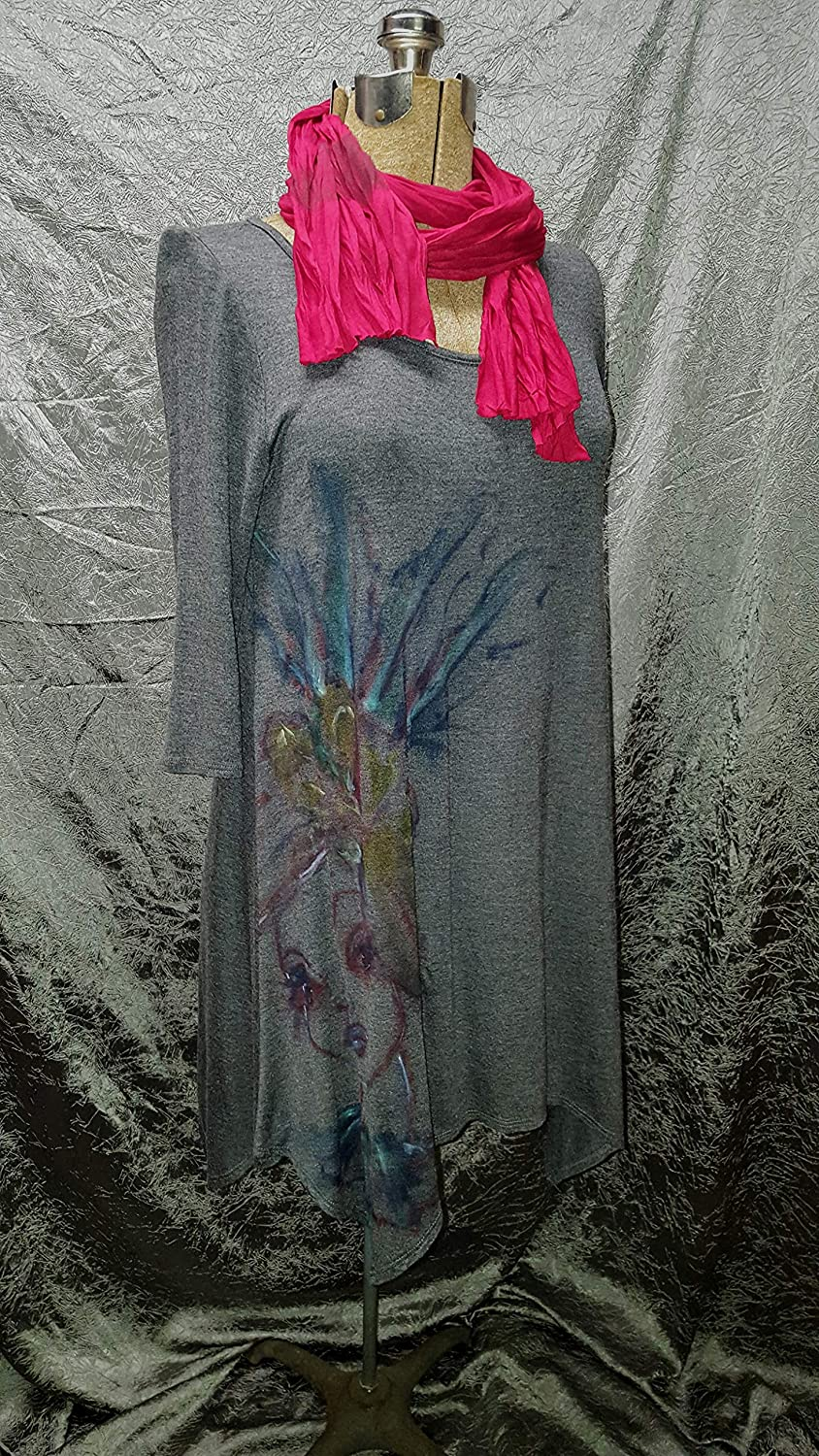 Women's Hand Painted Handkerchief lowest price Tunic New sales Gray Dr