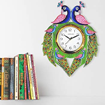 CAPIO ART Wooden Handpainted Antique Peacock Designer Wall Clock for Home Study Living Room & Office Decor (13 x 16 inch, Multicolour)