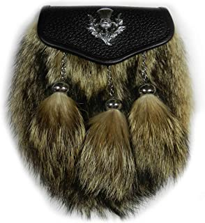 Coyote Fur Kilt Sporran for Men, Belt Pouch with REMOVED Chain, Kilt Accessories