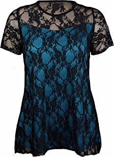 f7e0f73d9ab New Womens Floral Lace Short Sleeve Ladies Flower Lined Patterned Stretch  T-Shirt Tunic Party