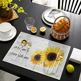 Molyhome Sunflowers الجدول مكان ماتس مجموعة من 6 × 19 بوصة كتان مفارش مقاومة للحرارة ، مفارش طاولة غير منزلقة ، ديكور المن...